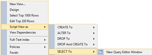 Script view asSELECT TONew Query editor window