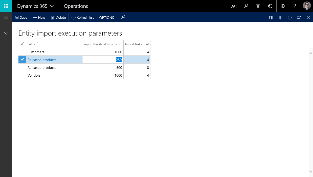 Entity Execution Parameters
