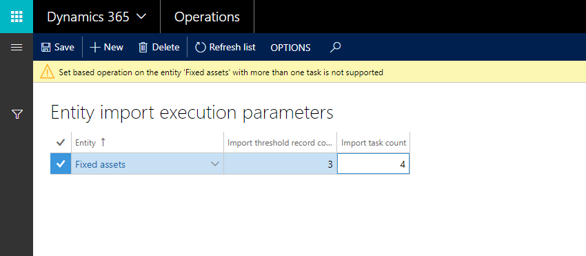 Speed up data import with (data) entity execution parameters